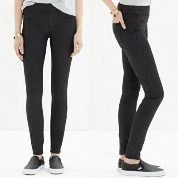 0fdc3fef95952 Madewell Pants | Black Coated Skinny Skinny Leggings | Poshmark